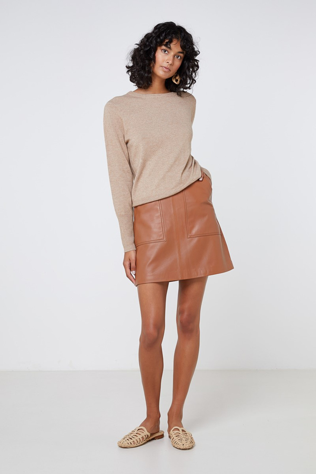 Elka Collective Lucette Leather Skirt Neutrals  0