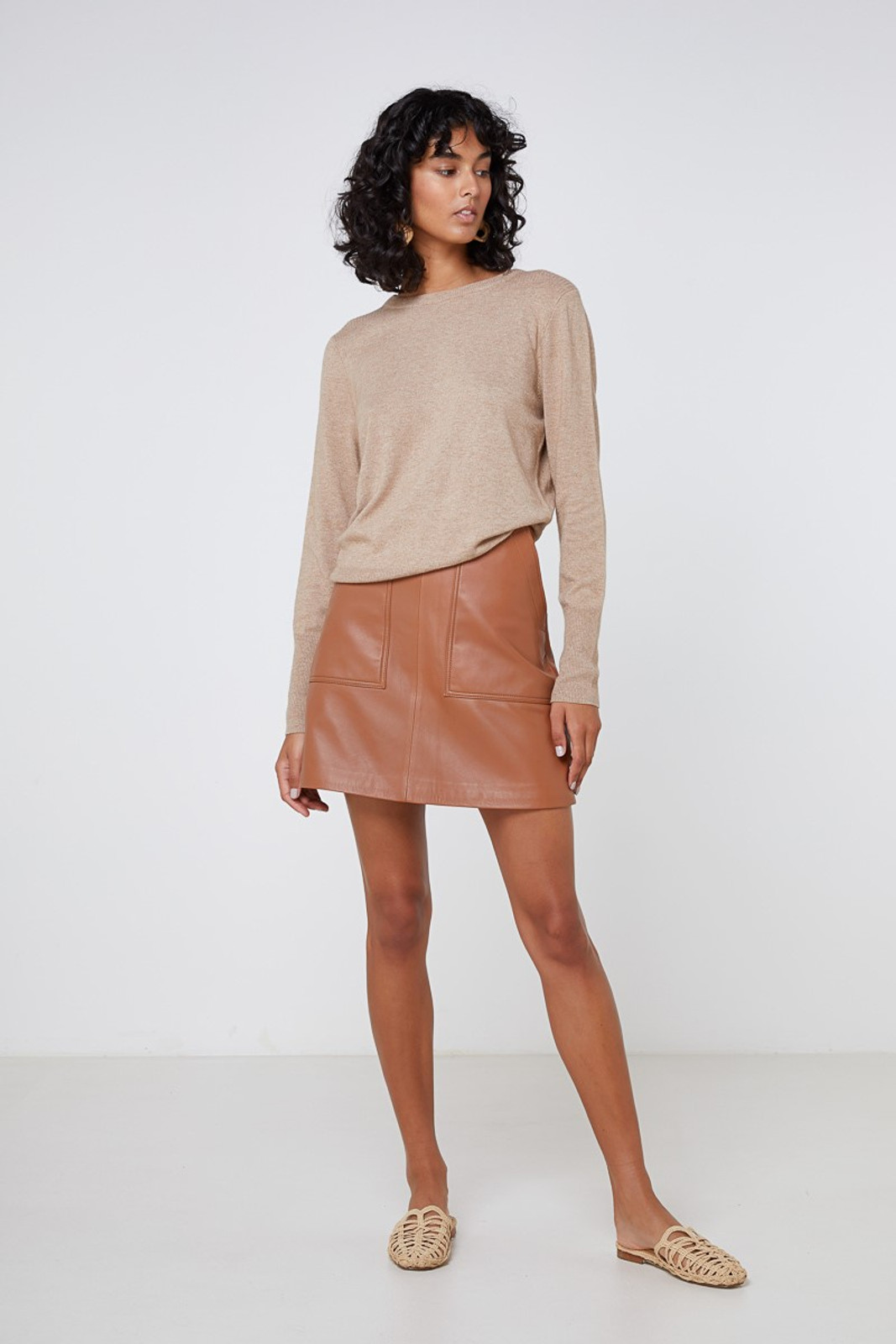 Elka Collective Lucette Leather Skirt Neutrals  1