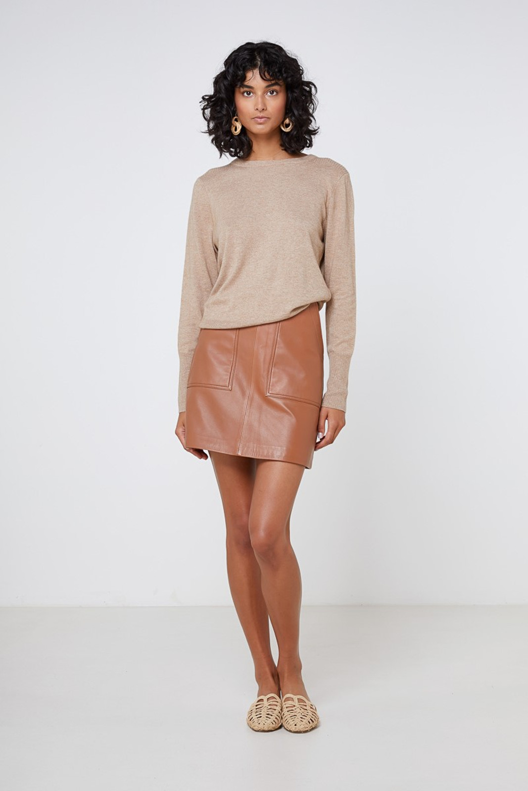 Elka Collective Lucette Leather Skirt Neutrals  2