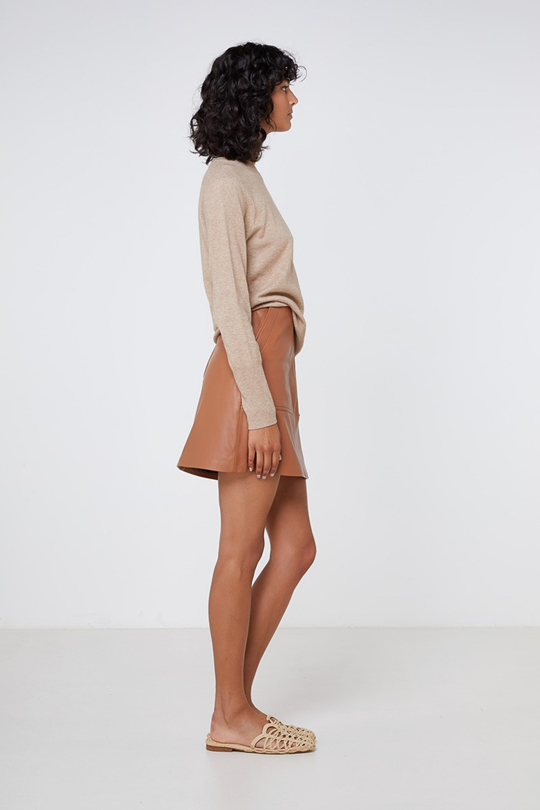 Elka Collective Lucette Leather Skirt Neutrals  3