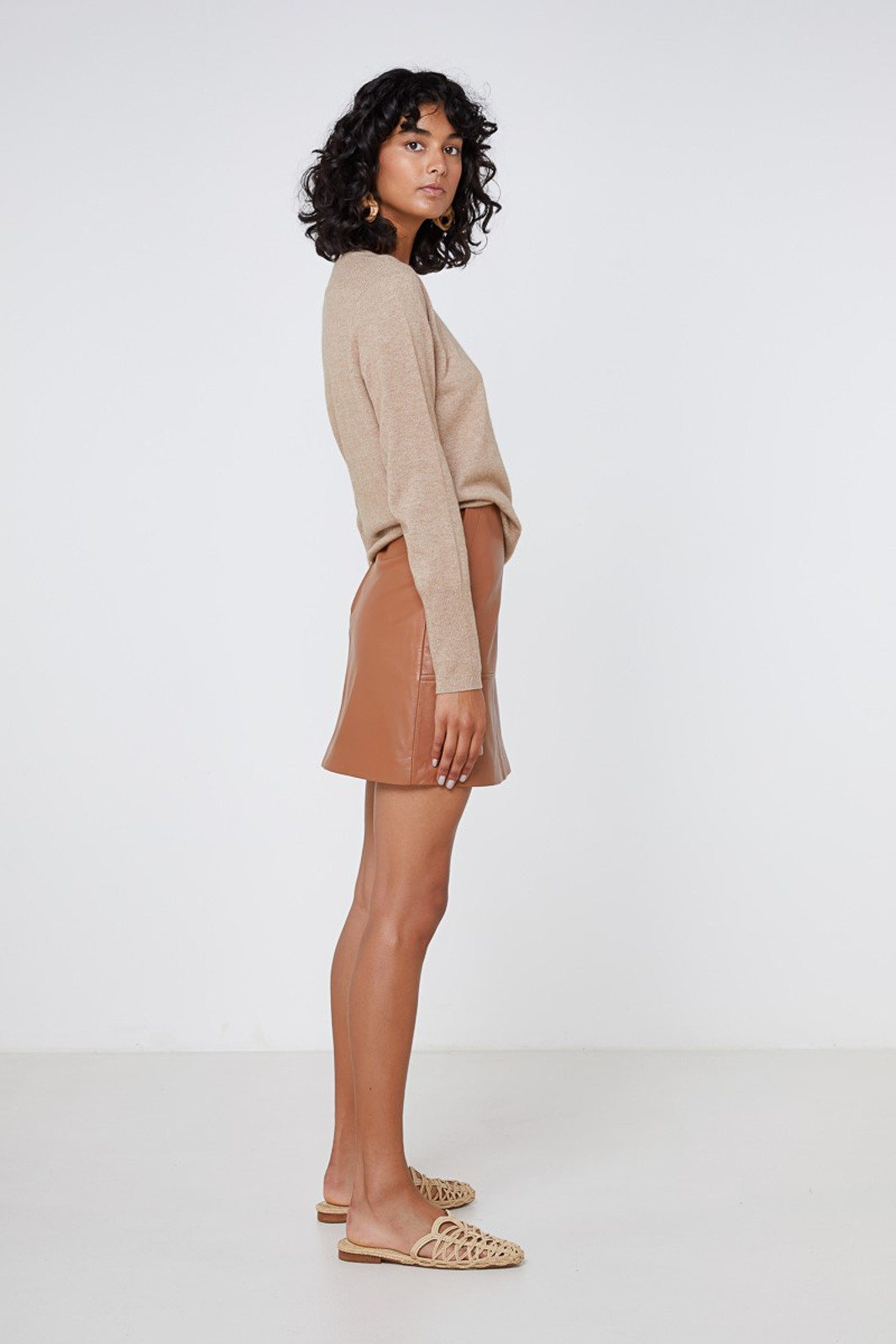 Elka Collective Lucette Leather Skirt Neutrals  4