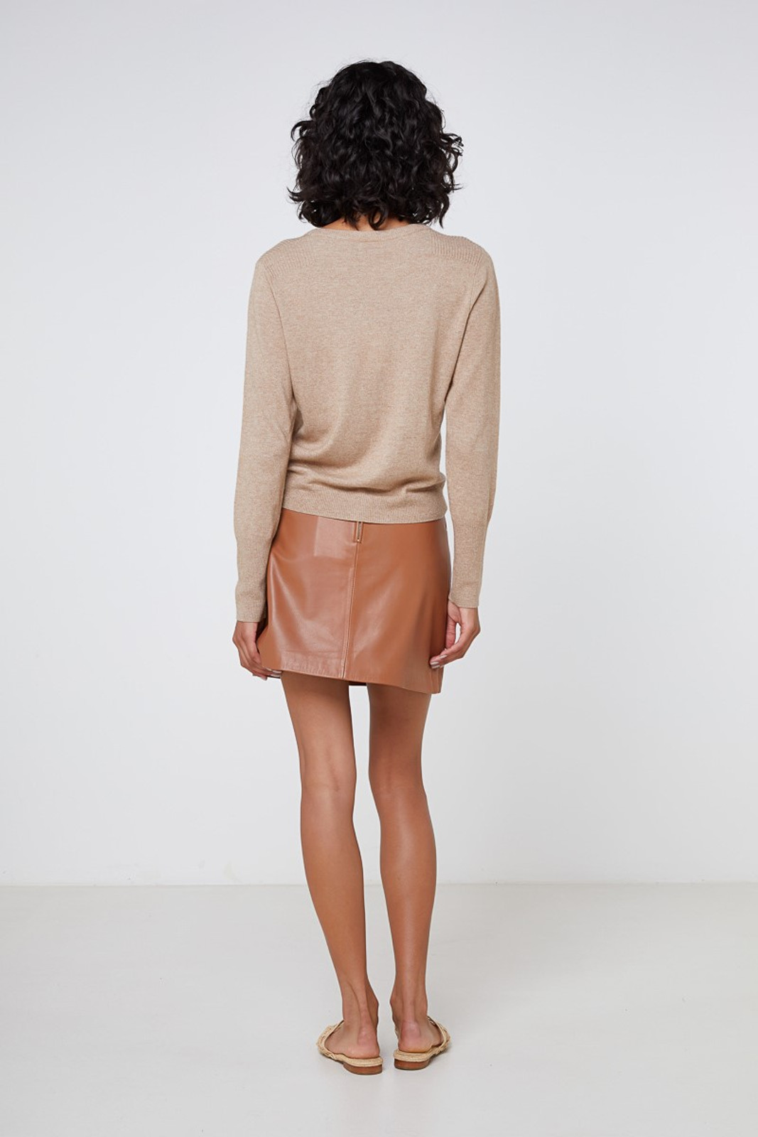 Elka Collective Lucette Leather Skirt Neutrals  6