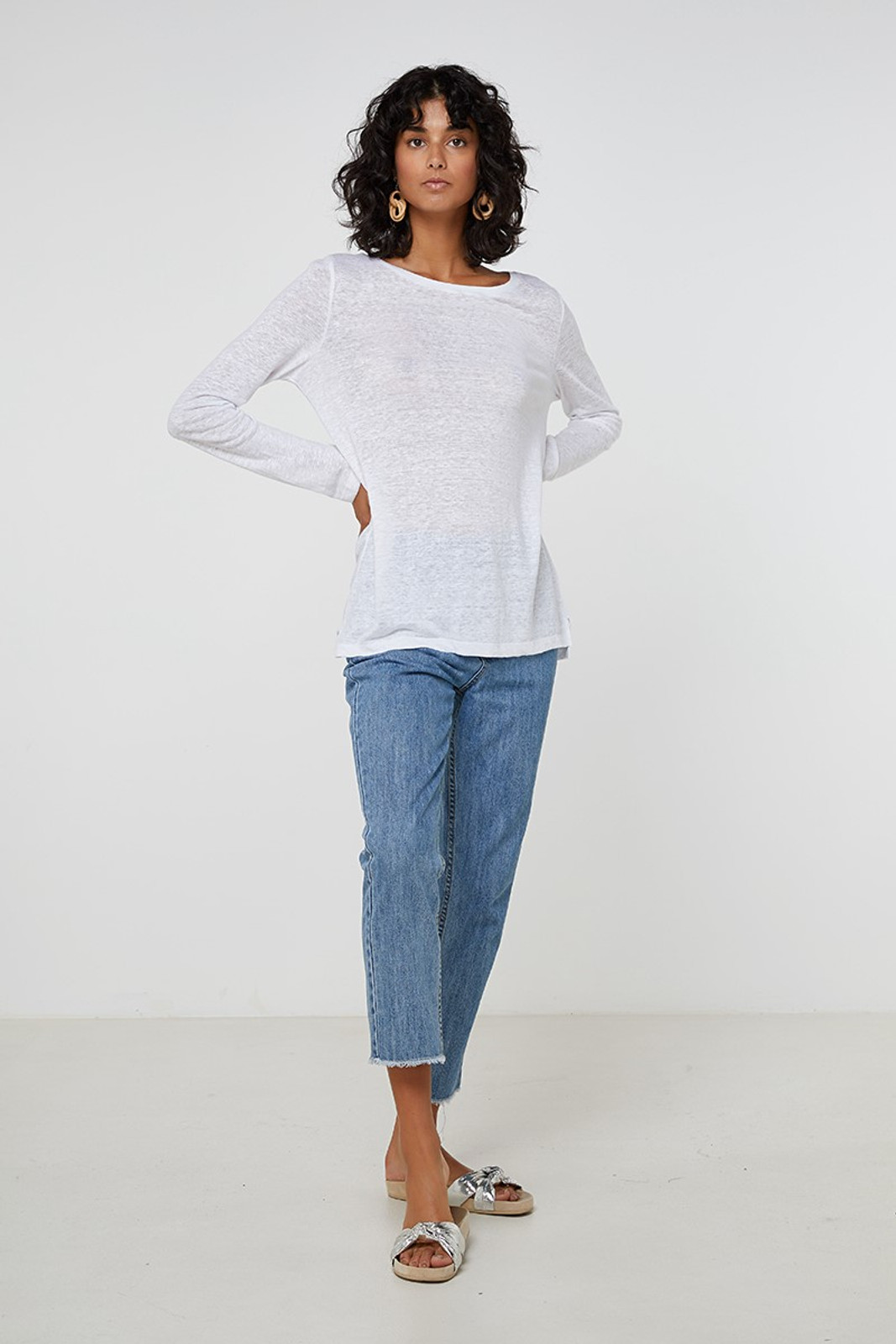Elka Collective EC Linen L/Slv Tee White  0