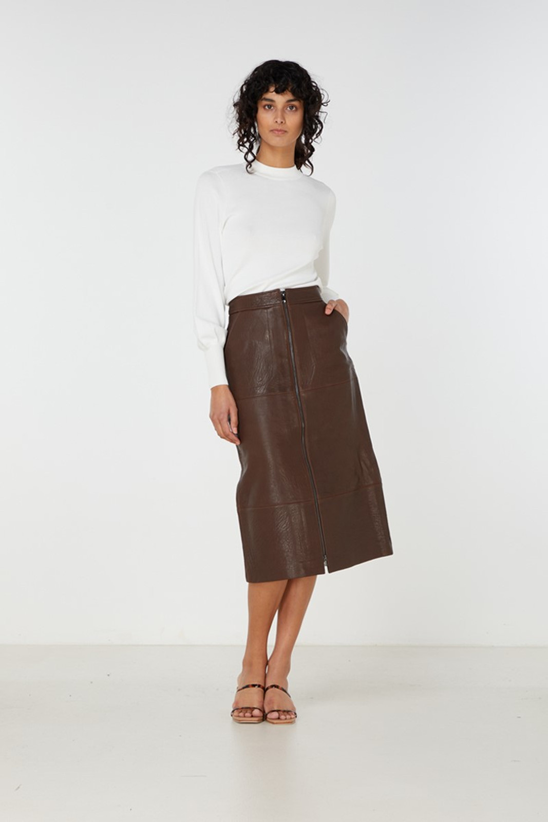 Elka Collective Jude Leather Skirt Brown  1