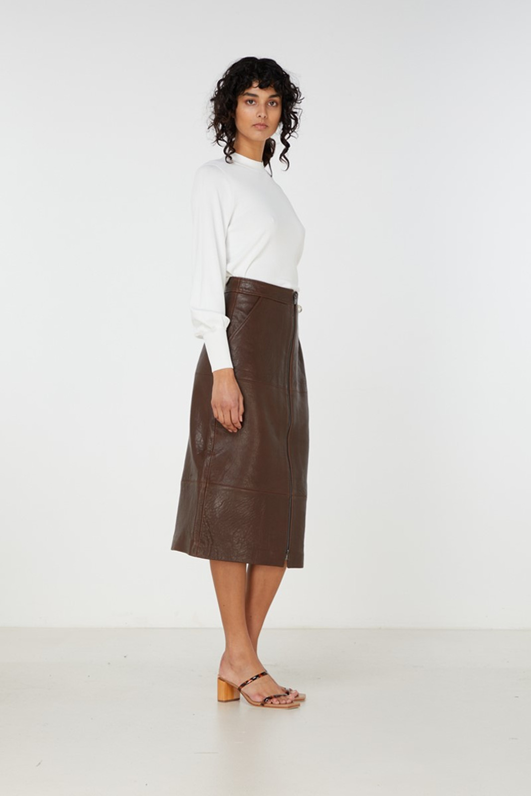Elka Collective Jude Leather Skirt Brown  2