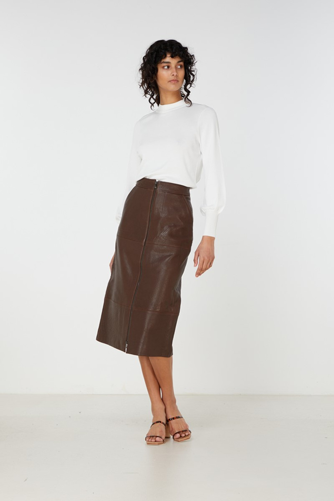 Elka Collective Jude Leather Skirt Brown  3