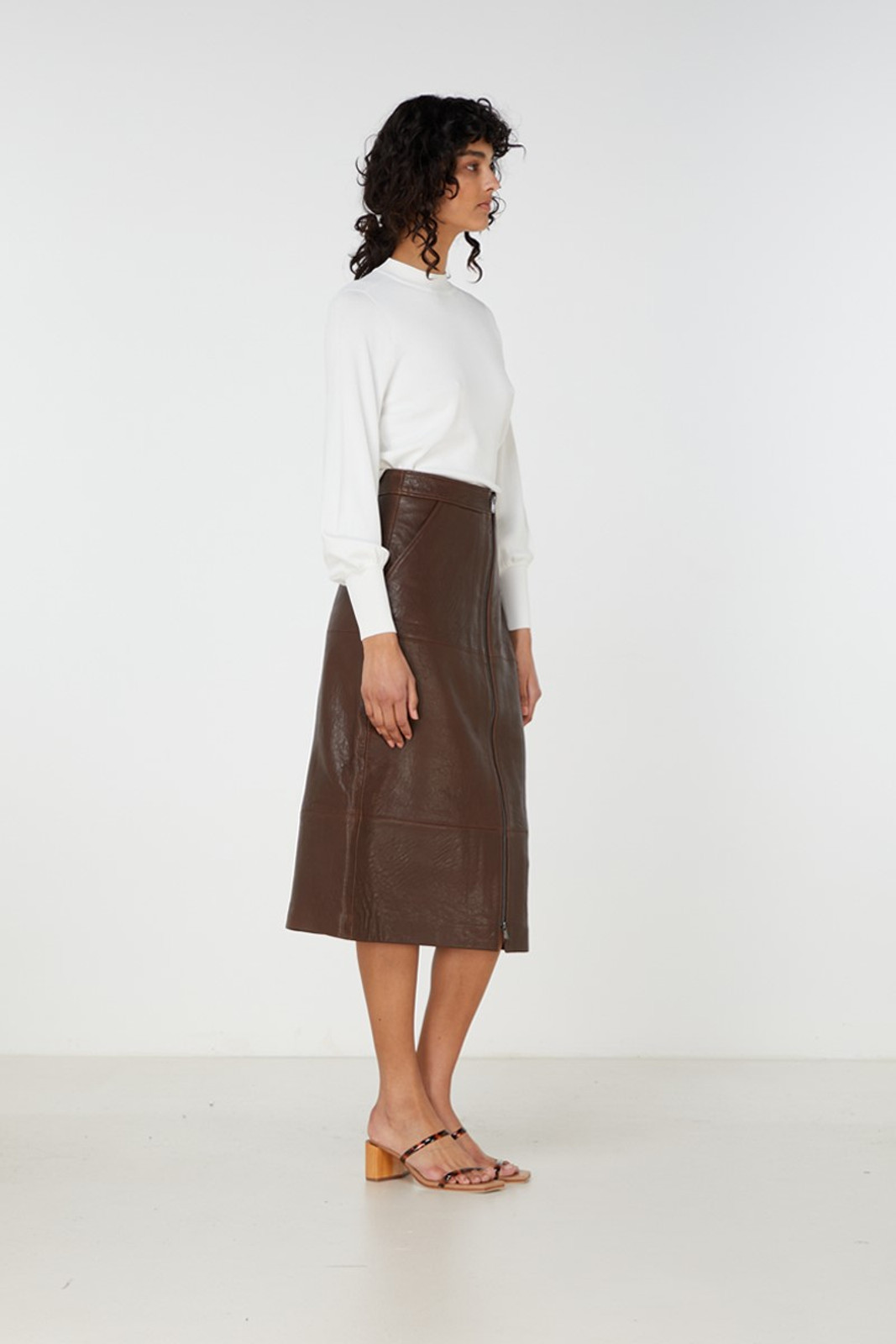 Elka Collective Jude Leather Skirt Brown  4