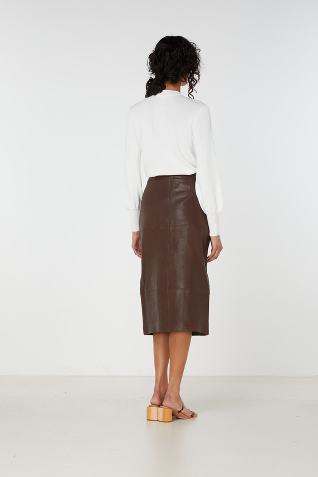 Elka Collective Jude Leather Skirt Brown  5