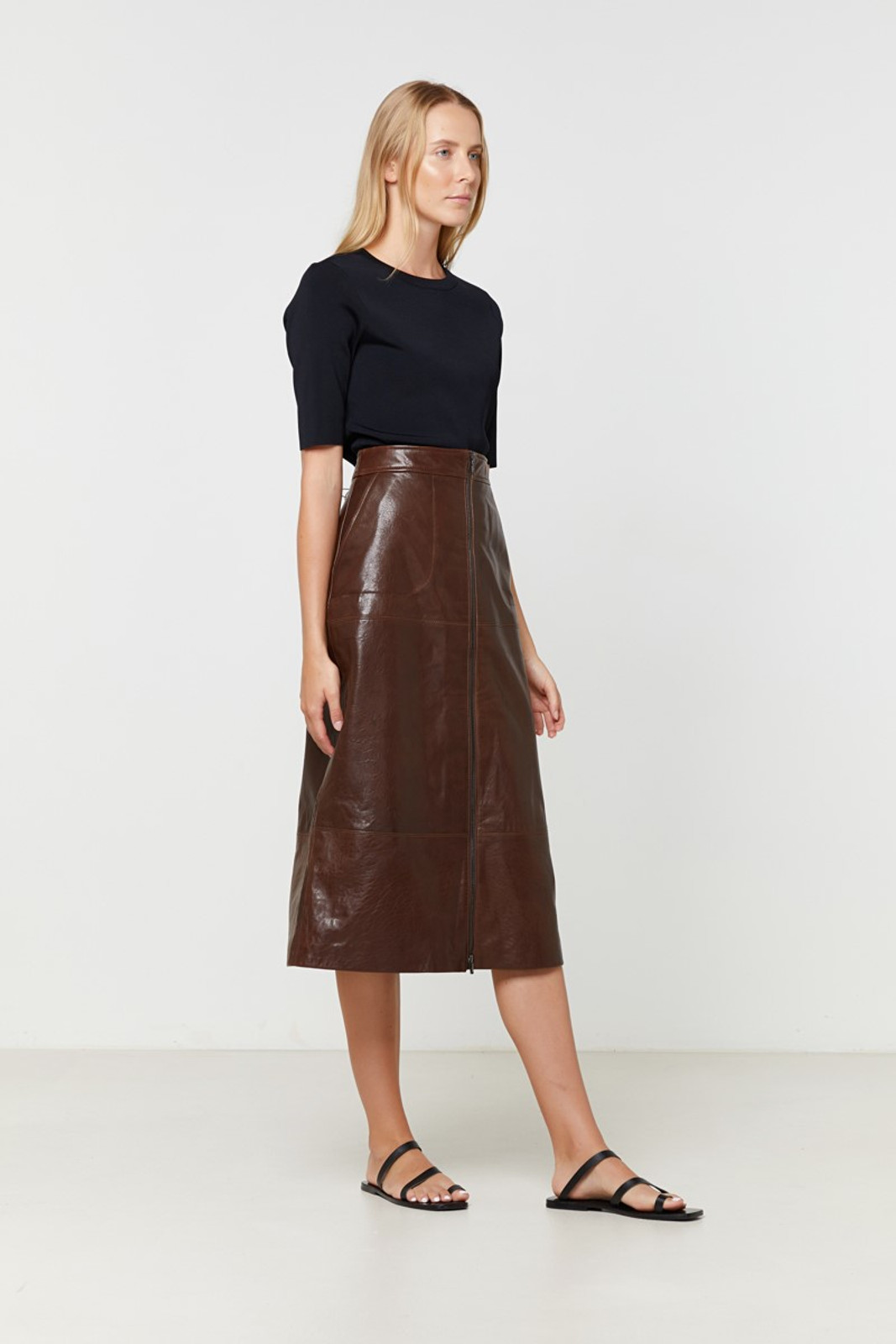 Elka Collective Jude Leather Skirt Brown  6