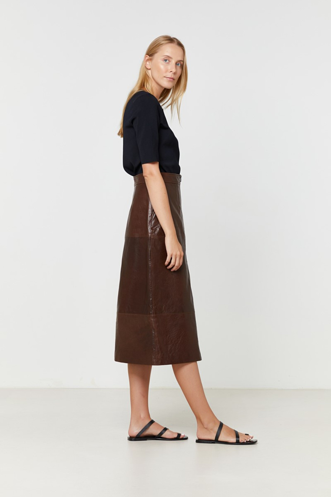 Elka Collective Jude Leather Skirt Brown  7