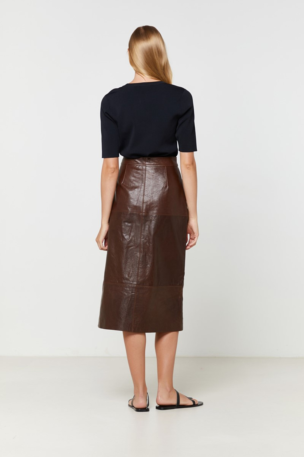 Elka Collective Jude Leather Skirt Brown  8
