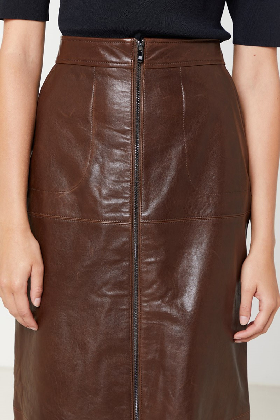 Elka Collective Jude Leather Skirt Brown  9
