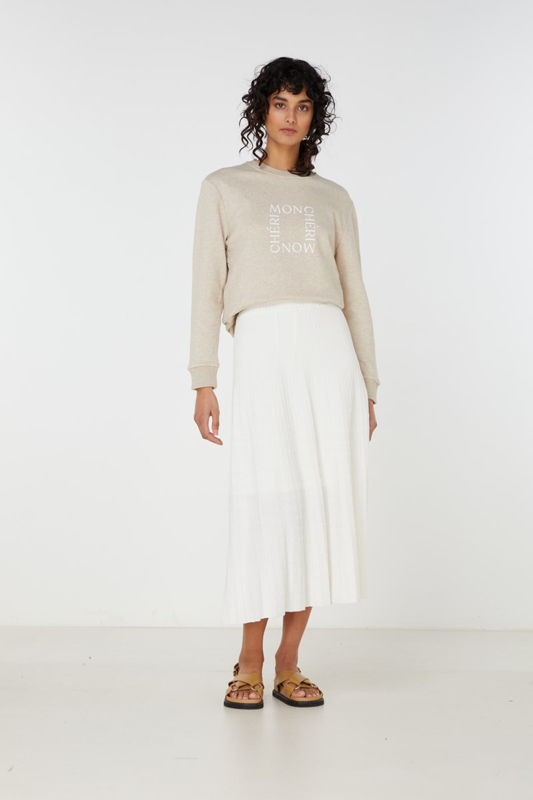 Elka Collective Raquel Knit Skirt White  0