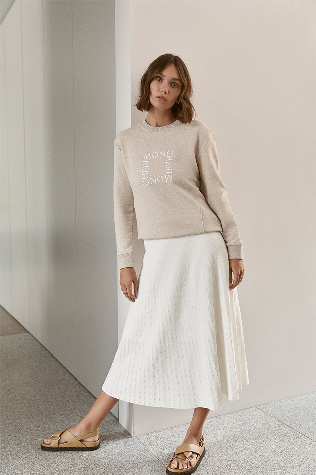 Elka Collective Raquel Knit Skirt White  1