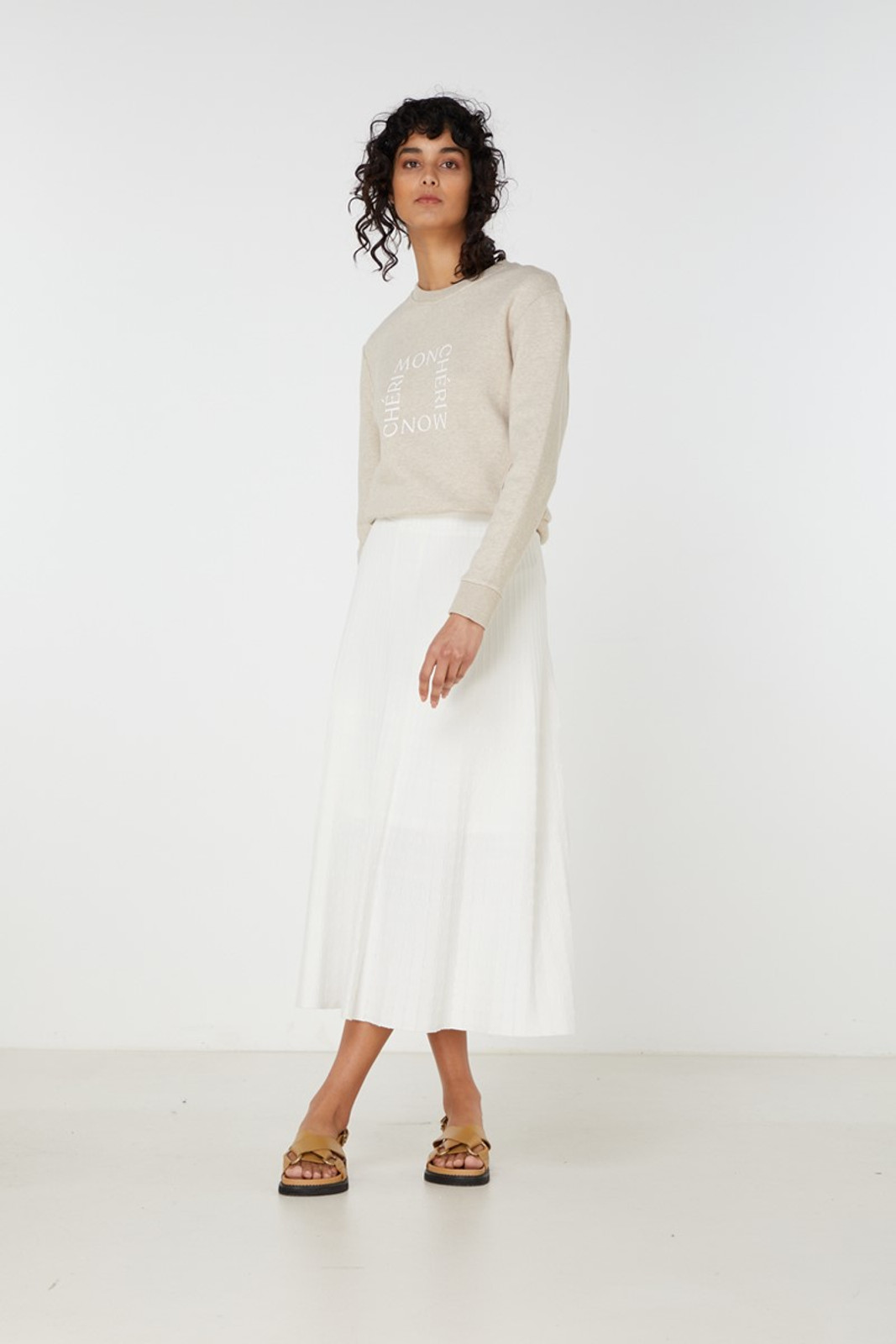 Elka Collective Raquel Knit Skirt White  2