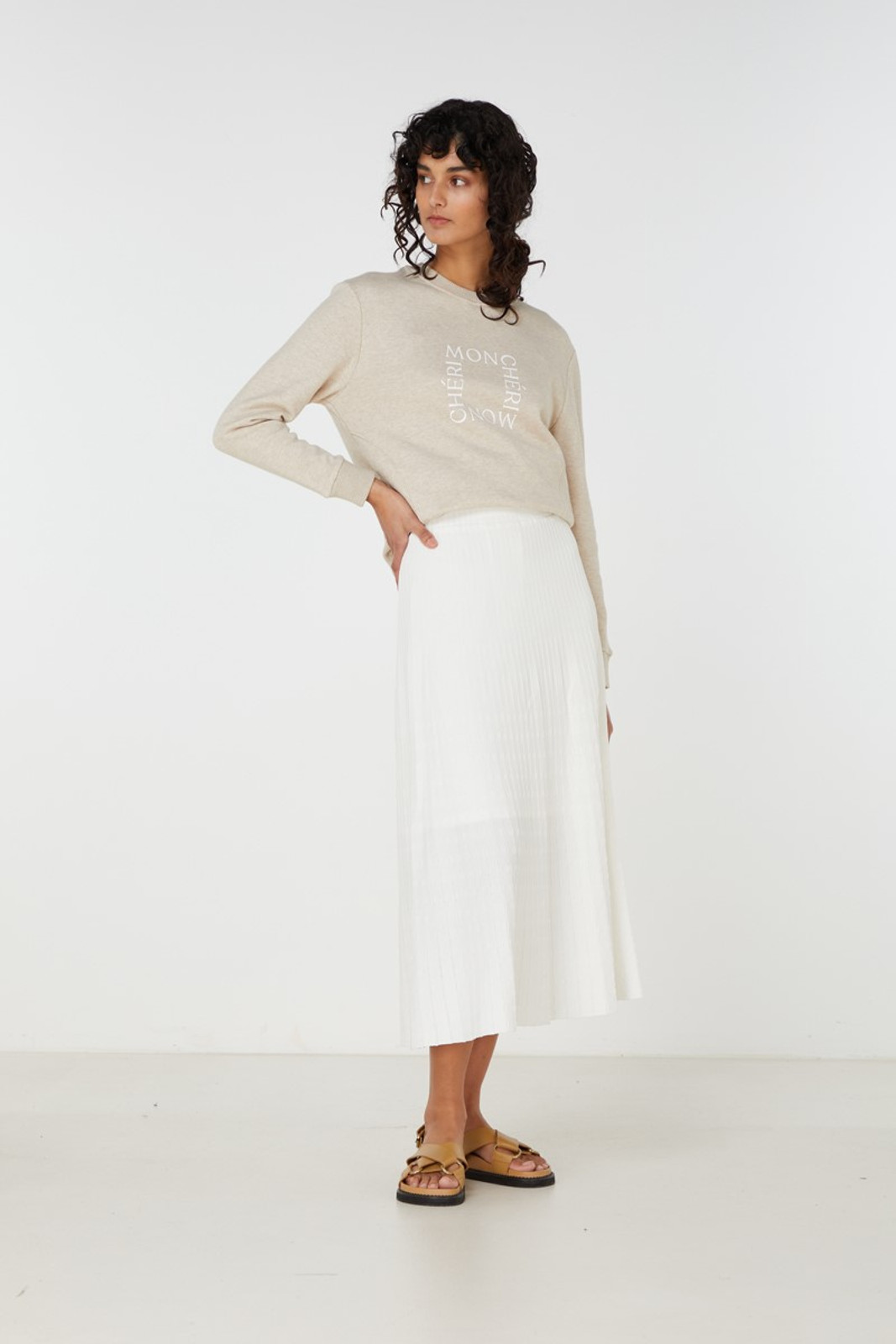 Elka Collective Raquel Knit Skirt White  3