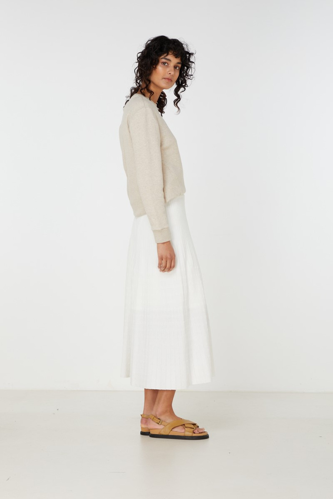 Elka Collective Raquel Knit Skirt White  4