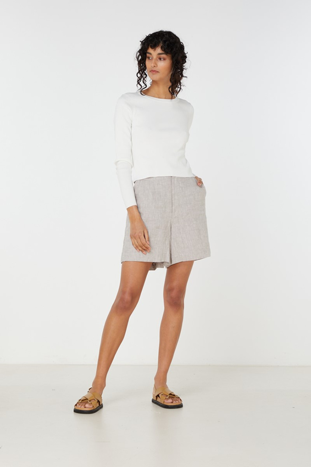 Elka Collective Imani Knit Top White  2