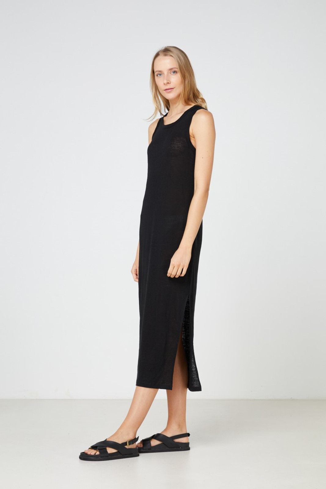 Elka Collective EC Linen Tank Dress 2.0 Black  2