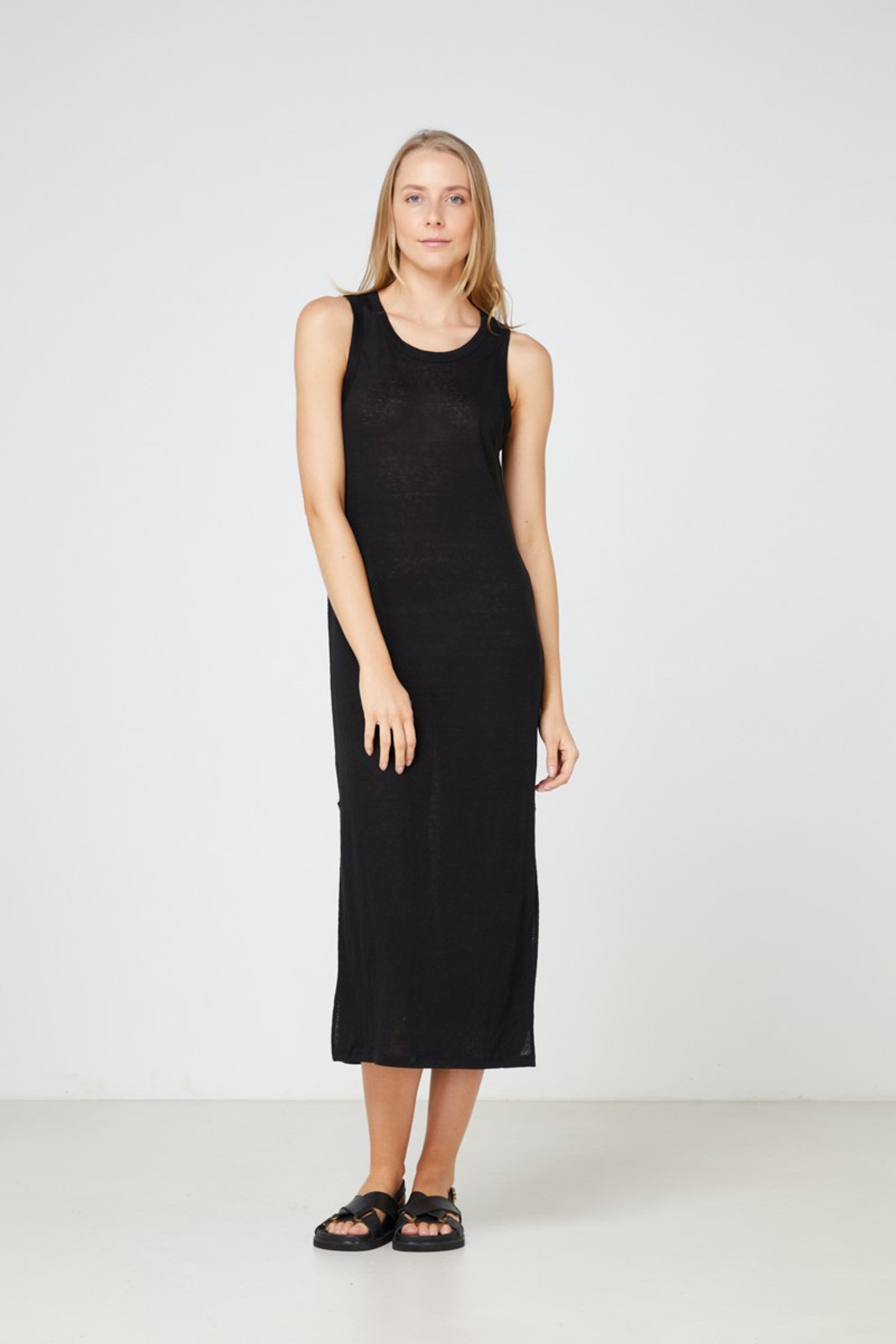 Elka Collective EC Linen Tank Dress 2.0 Black  0
