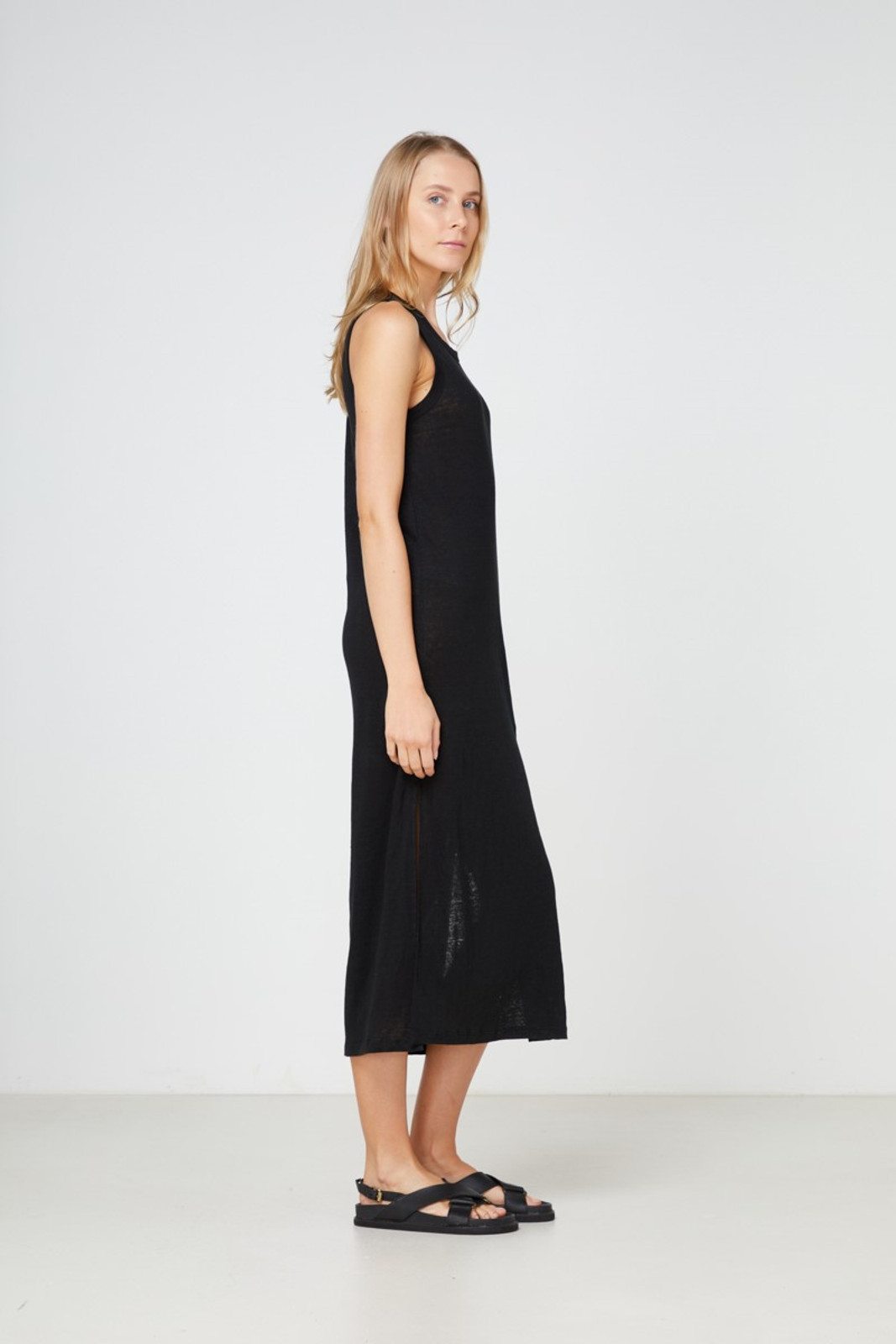 Elka Collective EC Linen Tank Dress 2.0 Black  4