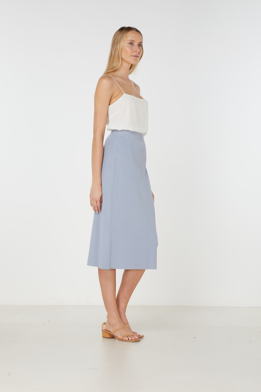 Elka Collective Airley Knit Skirt Blue  2