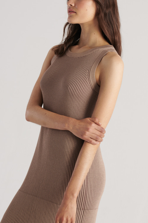 Elka Collective Womens Bowie Knit Dress Taupe