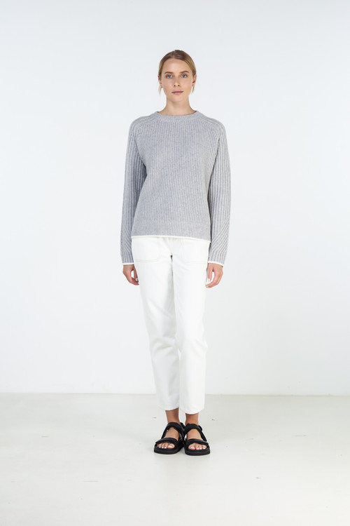Elka Collective Womens St Anton Knit Light Grey Marle