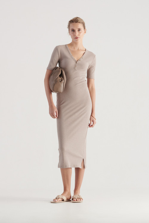 Elka Collective Womens Hadley Dress Taupe Marle