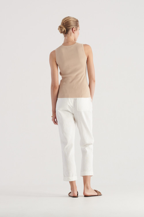 Elka Collective Womens Tone Knit Top Sand