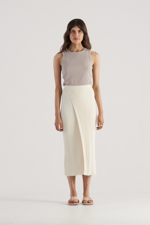 Elka Collective Womens Sloane Knit Skirt Ivory