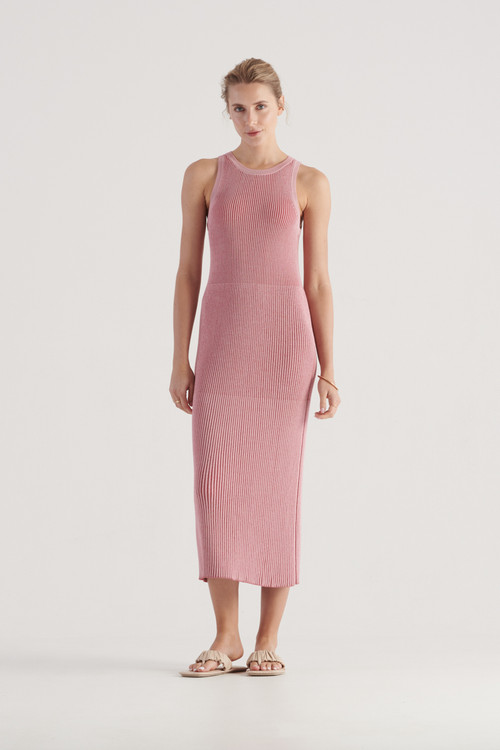 Elka Collective Womens Stevie Knit Dress Pink/Red