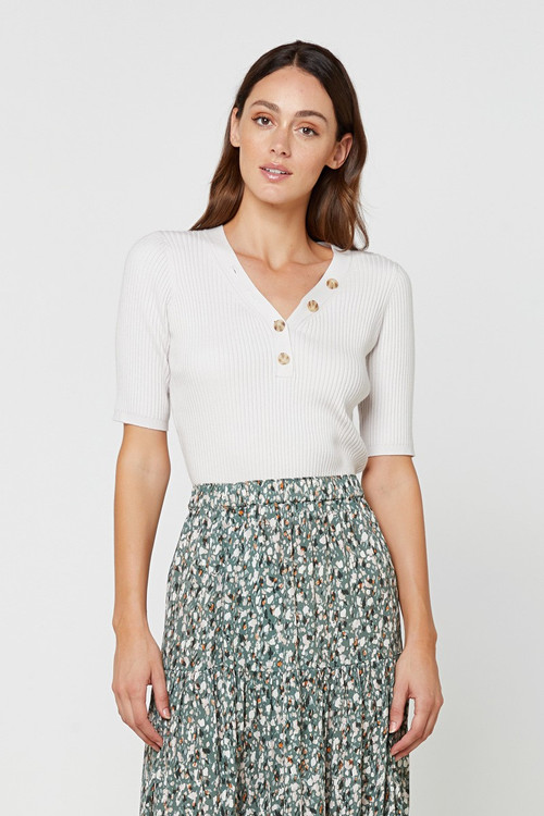 Elka Collective  Sherry Knit Top Neutrals