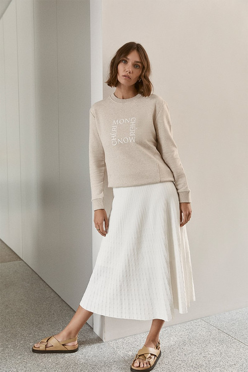 Elka Collective  Raquel Knit Skirt White