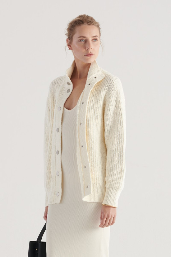 Elka Collective Augusta Knit Cardi Ivory
