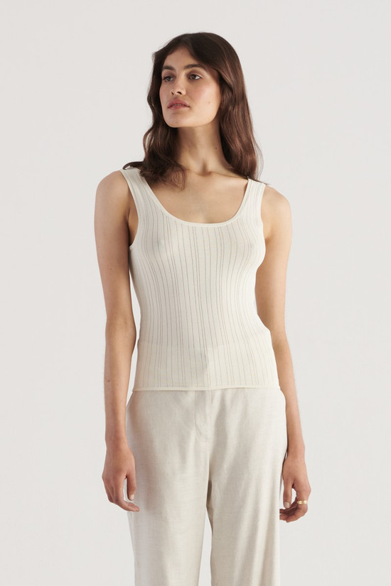 Elka Collective Evon Knit Top Ivory