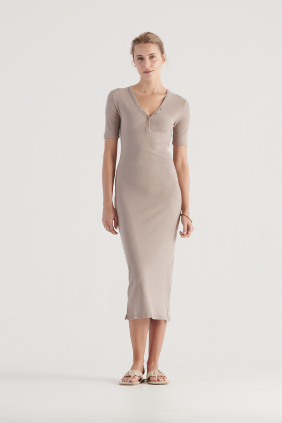 Elka Collective Hadley Dress Taupe Marle