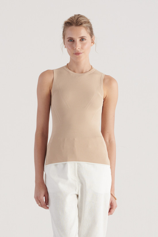 Elka Collective Tone Knit Top Sand