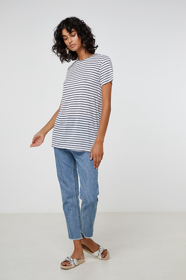 Elka Collective Ec Linen Crew Neck Tee Navy Stripe