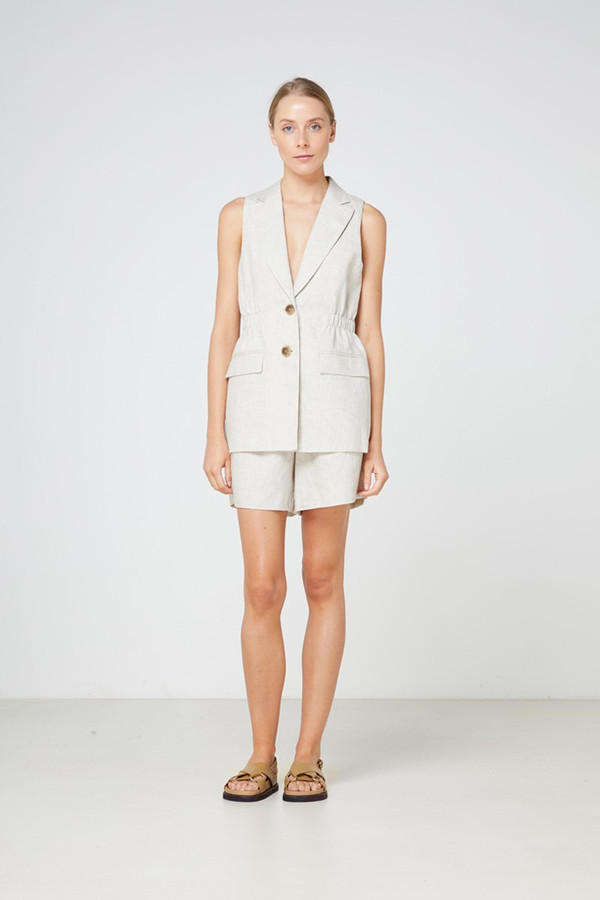 Elka Collective Tropea Sleeveless Jacket Natural