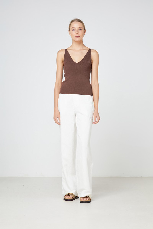 Elka Collective Lyon Knit Top Chocolate