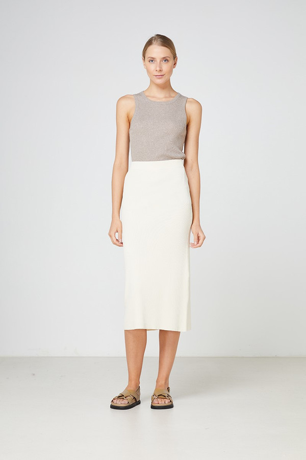 Elka Collective Cabrini Knit Skirt Cream
