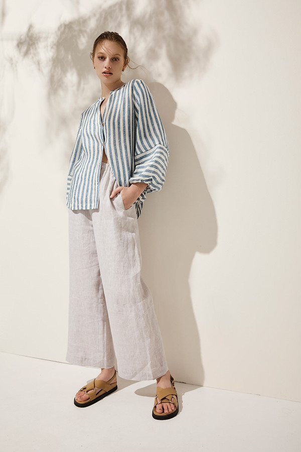 Elka Collective Malta Shirt Blue Linen Stripe