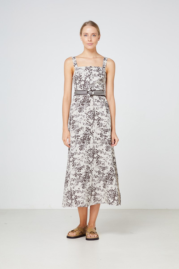 Elka Collective Belmond Midi Dress Cocoa Print