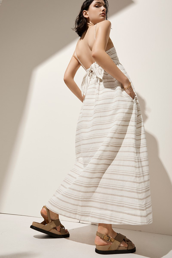 Elka Collective Tuscany Maxi Dress Natural Stripe