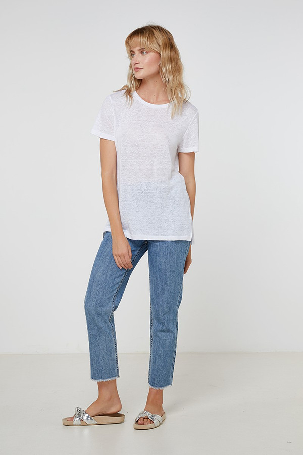 Elka Collective Ec Linen Crew Neck Tee White