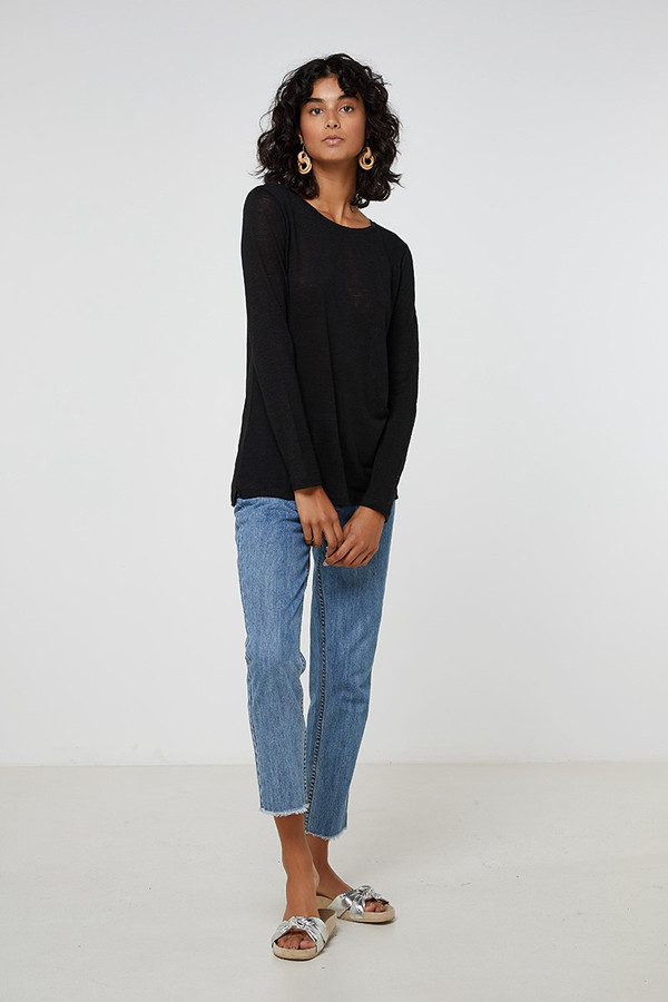 Elka Collective Ec Linen L/Slv Tee Black