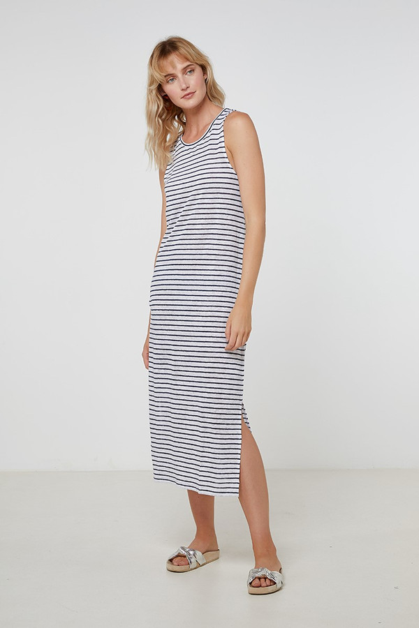 Elka Collective Ec Linen Tank Dress Navy Stripe