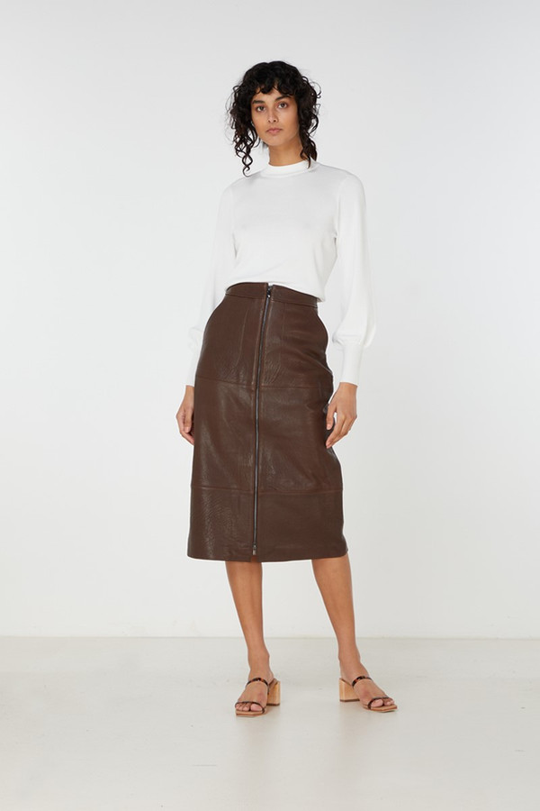 Elka Collective Jude Leather Skirt Dark Wood