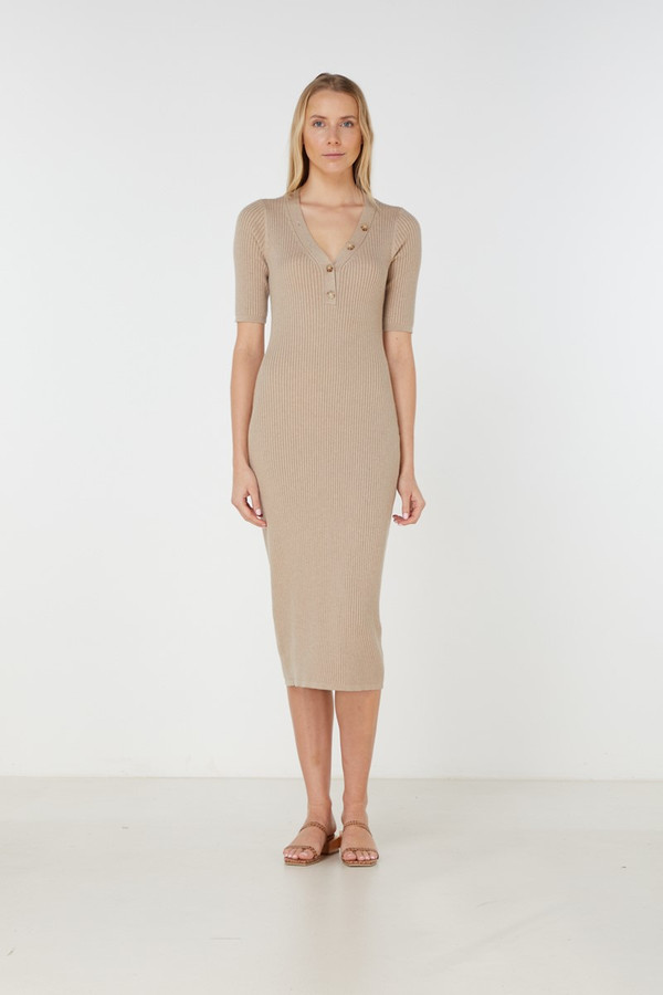 Elka Collective Quinn Knit Dress Light Taupe